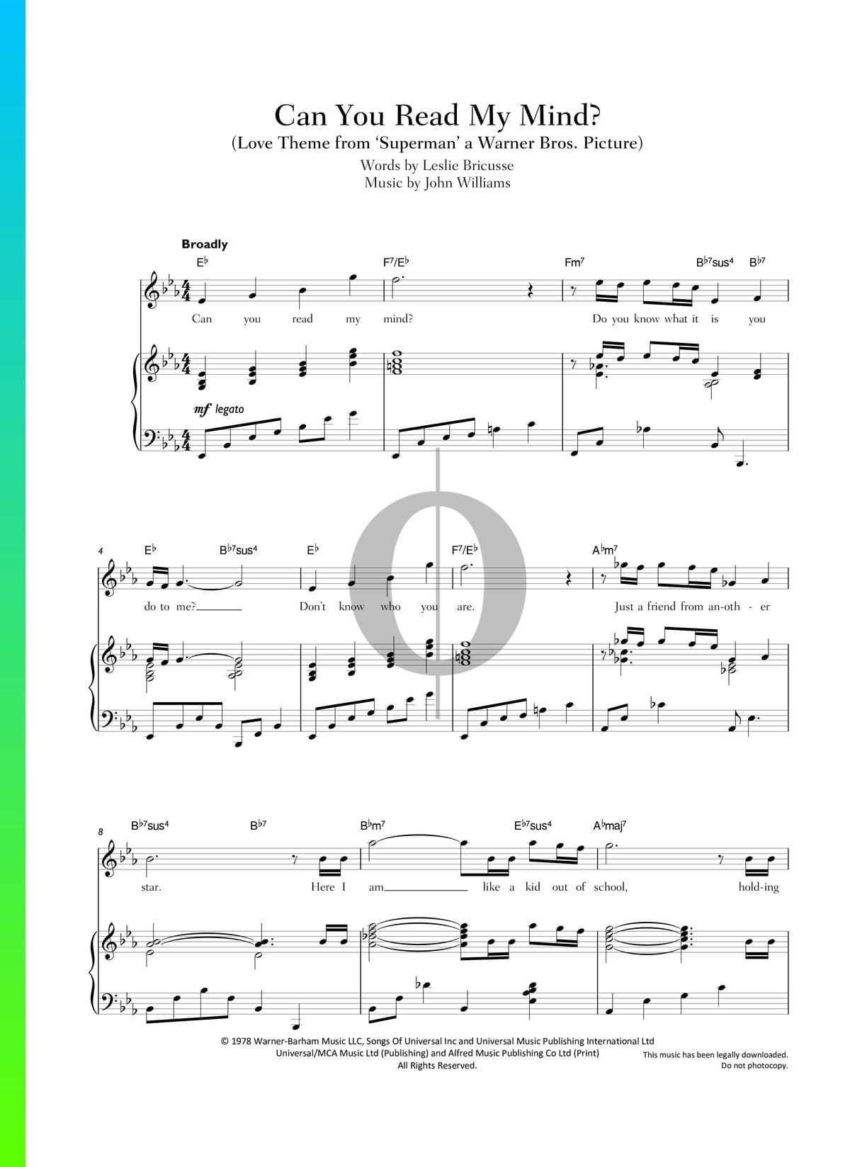 ▷ can you read my mind sheet music (piano, voice) - pdf download &  streaming - oktav  oktav
