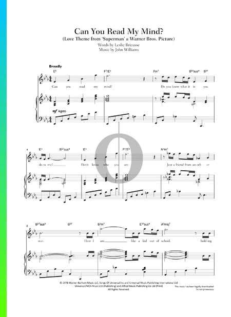 Can You Read My Mind Sheet Music