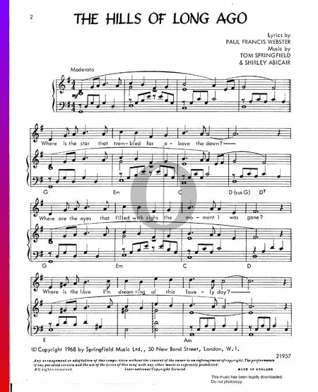 The Hills Of Long Ago Sheet Music