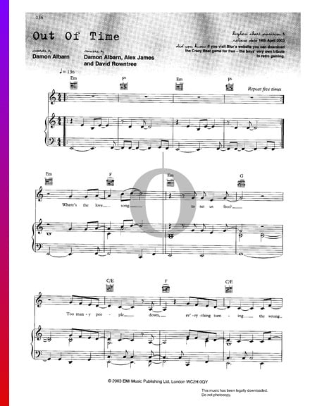 Out Of Time Sheet Music
