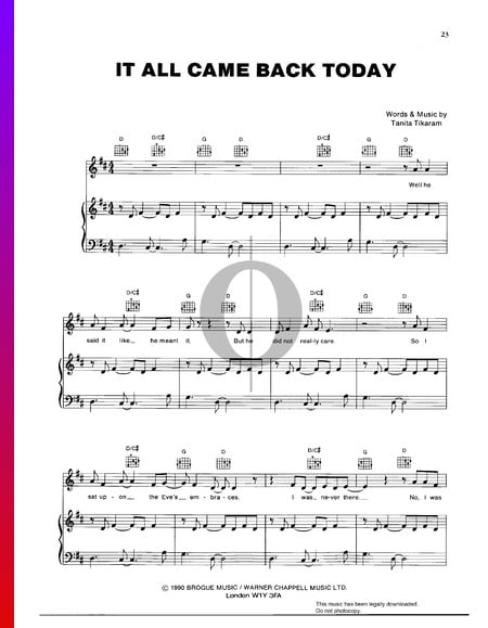 It All Came Back Today Sheet Music