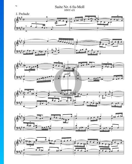 Suite n.º 5 en fa sostenido mayor, HWV 431: 1. Preludio Partitura