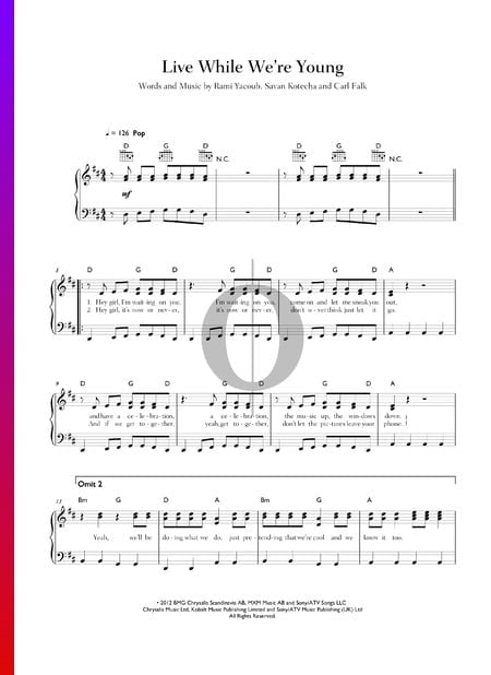 Live While We're Young Sheet Music