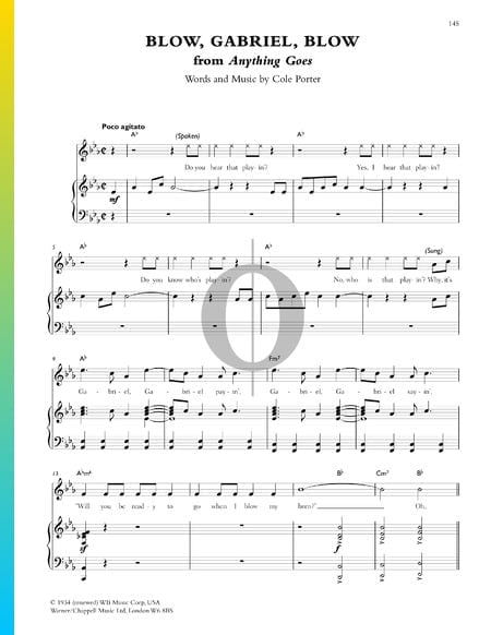 Blow, Gabriel, Blow Sheet Music