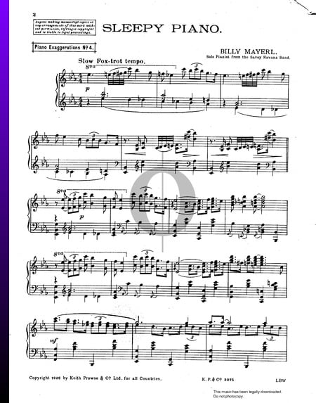 Sleepy PIano Sheet Music