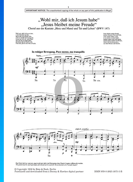 Wohl mir, dass ich Jesum habe - Jesus bleibet meine Freude, BWV 147 Musik-Noten