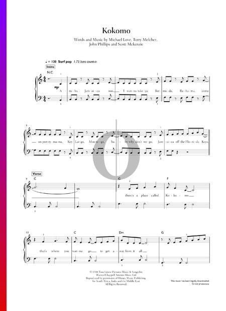Kokomo Musik-Noten