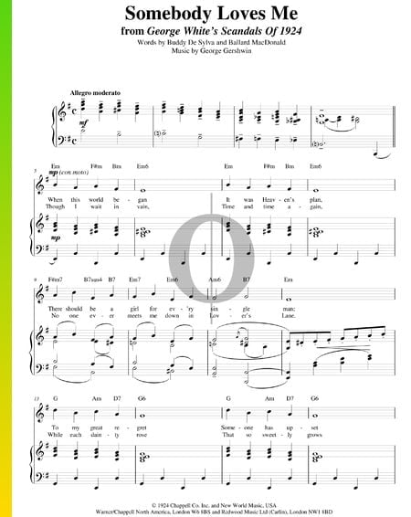 Somebody Loves Me Sheet Music