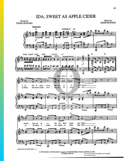 Ida, Sweet As Apple Cider Musik-Noten