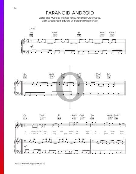 Paranoid Android Musik-Noten