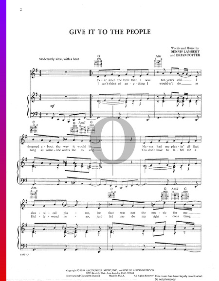 Give It To The People Sheet Music
