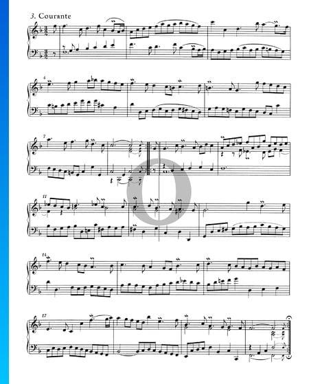 Englische Suite Nr. 4 F-Dur, BWV 809: 3. Courante Musik-Noten