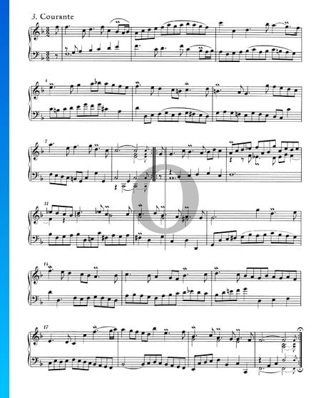 Suites Anglaises No. 4 en Fa Majeur, BWV 809: 3. Courante Partition