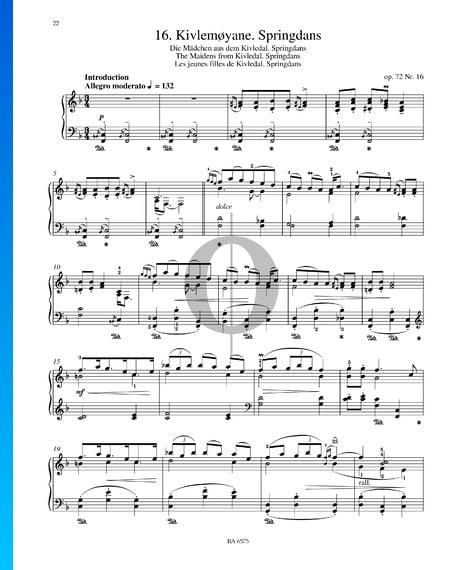 Kivlemoyane (Die Mädchen aus dem Kivledal), Op. 72 Nr. 16 Musik-Noten