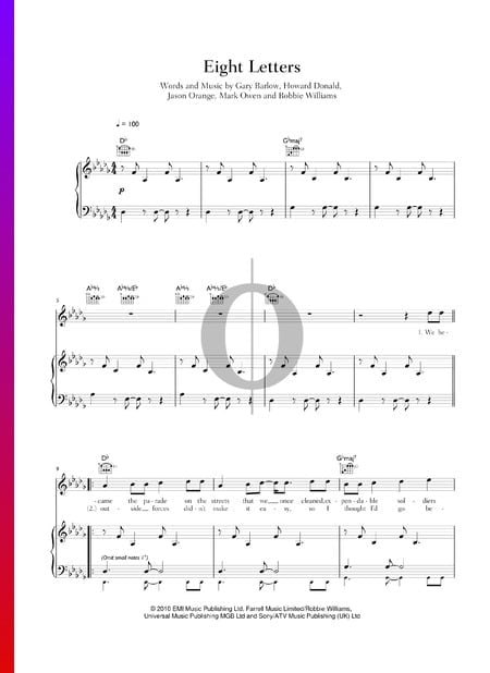Eight Letters Sheet Music
