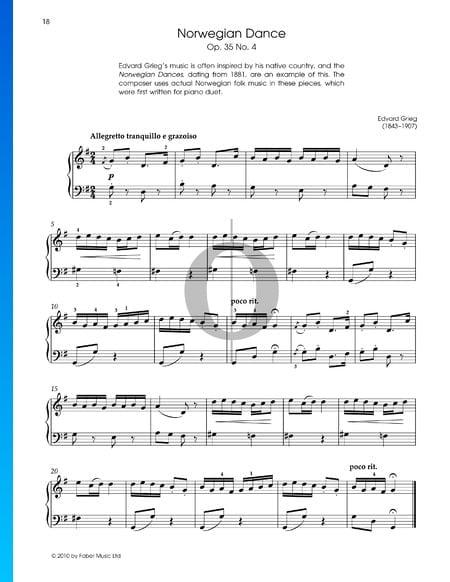 Danza noruega, Op. 35, n.º 2 Partitura