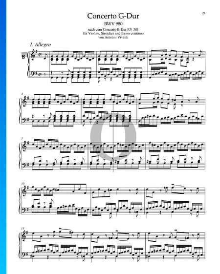 Concerto en Sol Majeur, BWV 980: 1. Allegro Partition