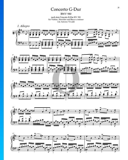Concerto in G-Dur, BWV 980: 1. Allegro Musik-Noten