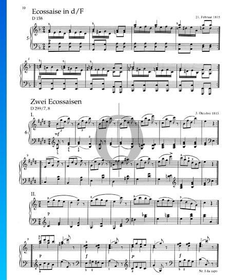 Zwei Ecossaisen, D 299/7, 8 Musik-Noten
