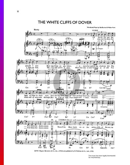 The White Cliffs Of Dover Sheet Music