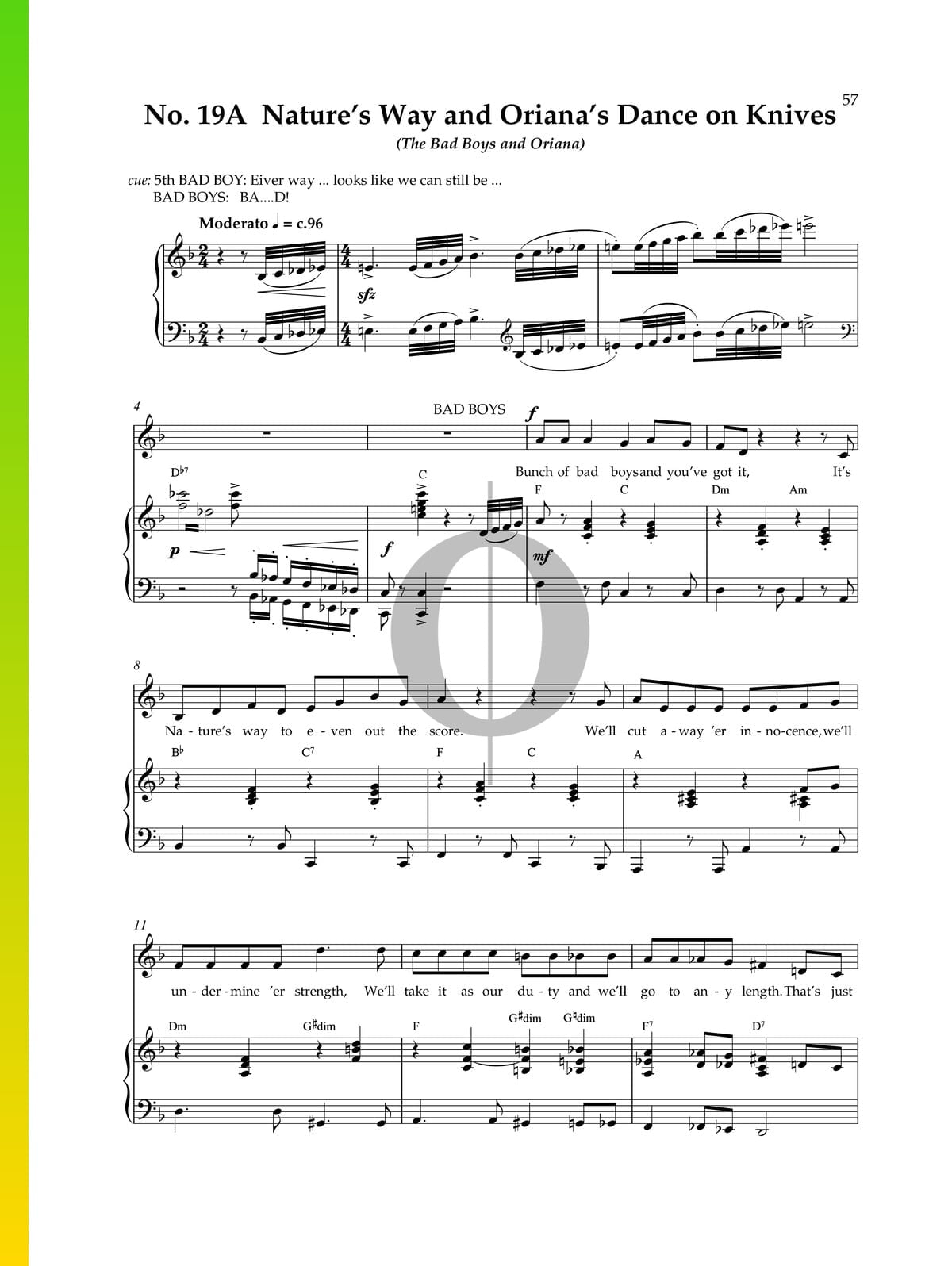 Natures Way And Orianas Dance On Knives Sheet Music