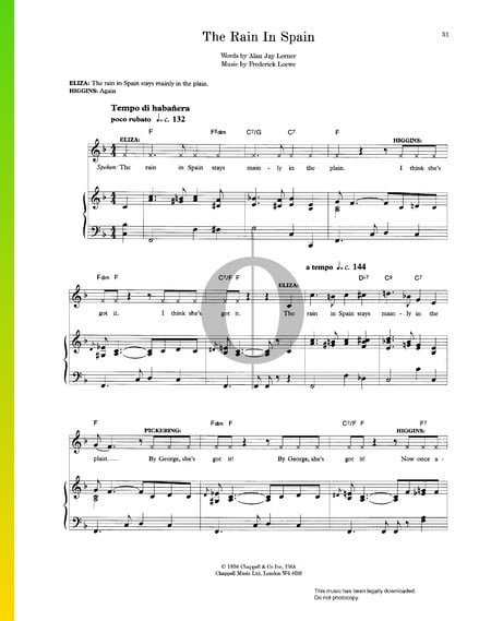 The Rain In Spain Musik-Noten
