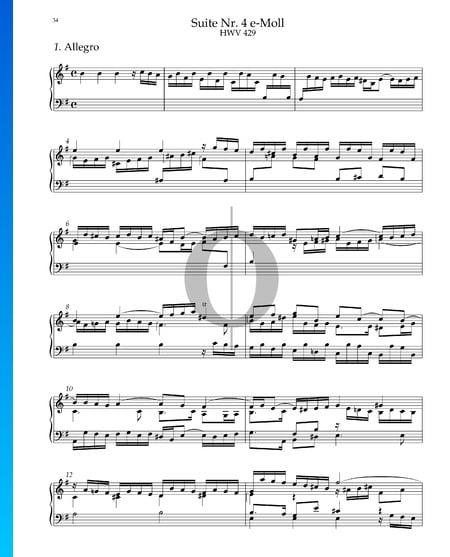 Suite Nr. 4 e-Moll, HWV 429: 1. Allegro Musik-Noten