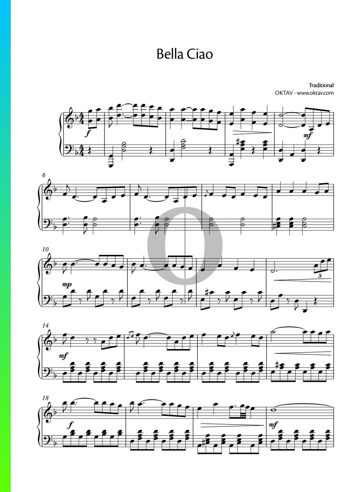 Bella Ciao Sheet Music Piano Solo Pdf Download Streaming Oktav