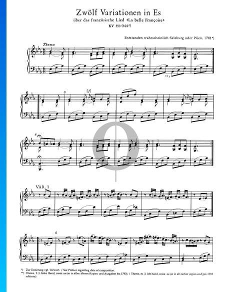 Zwölf Variationen in Es-Dur, KV 353 (300f) Musik-Noten