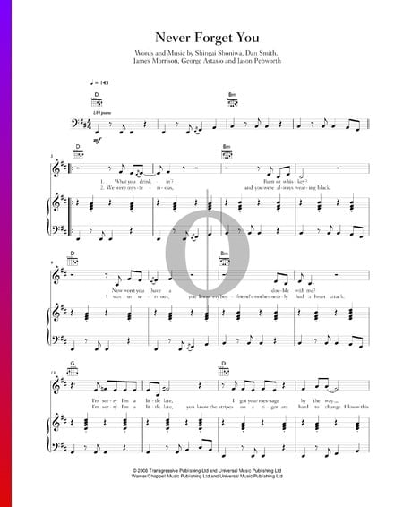 Never Forget You Sheet Music