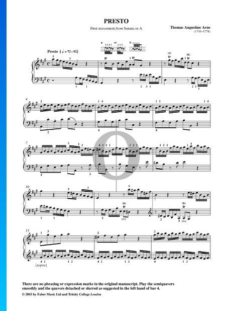 Sonata No. 7 in A Major: 1. Presto Sheet Music