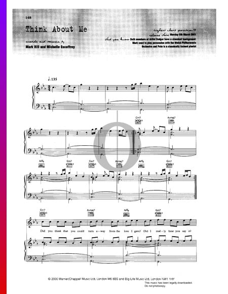 Think About Me Sheet Music