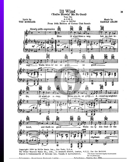 Ill Wind (You're Blowin' Me No Good) Sheet Music