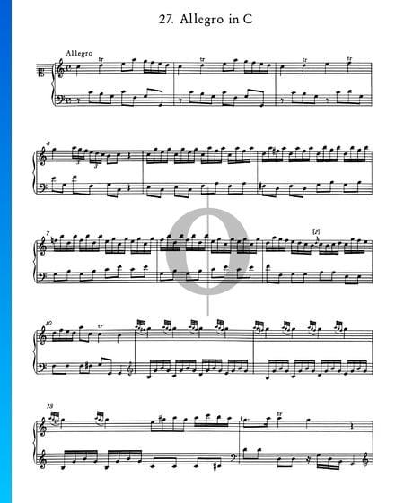 Allegro en Do Majeur, No. 27 Partition