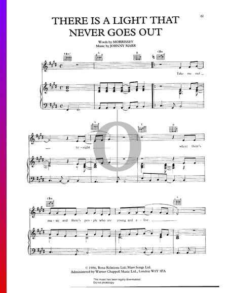 There Is A Light That Never Goes Out Sheet Music