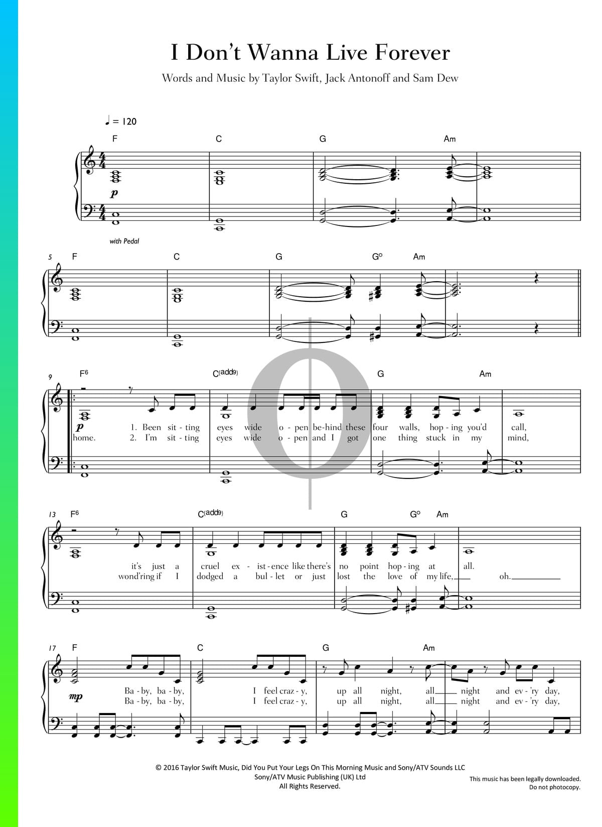 ▷ I Don't Wanna Live Forever Sheet Music (Piano, Guitar