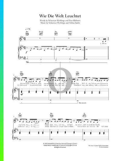 Wie Die Welt Leuchtet Musik-Noten