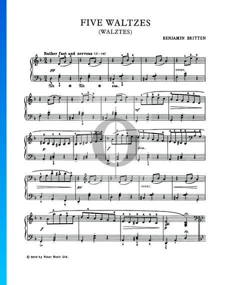 Five Waltzes, Op 3. No. 1 Partition