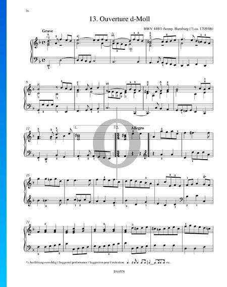 Obertura en re menor, HWV 448/1 Partitura