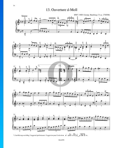 Overture D Minor, HWV 448/1 Sheet Music