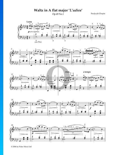 Walzer As-Dur, Op. 69 Nr. 1 (Abschiedswalzer) Musik-Noten