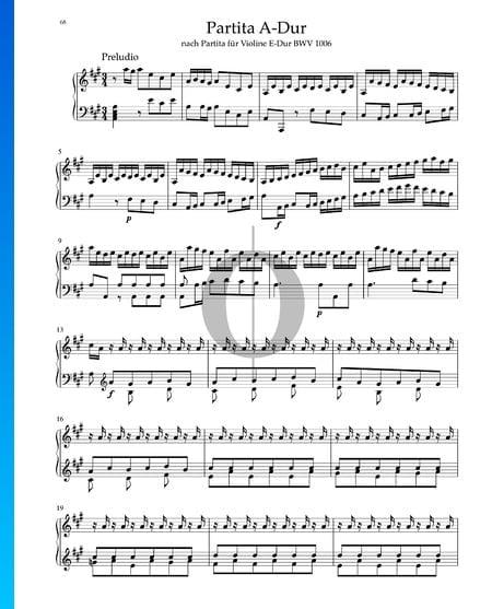Partita in A-Dur, BWV 1006: 1. Preludio Musik-Noten