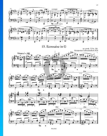Ecossaise en Sol Majeur, Op. posth. 72 No. 3/II Partition