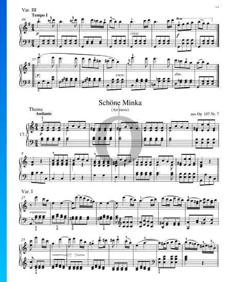 Russian Folk Song - Beautiful Minka, Op. 107 No. 7 Sheet Music