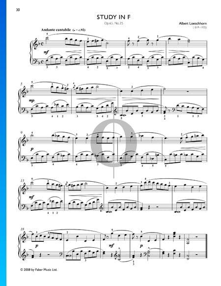 Étude en Fa Majeur, Op. 65 No. 25 Partition