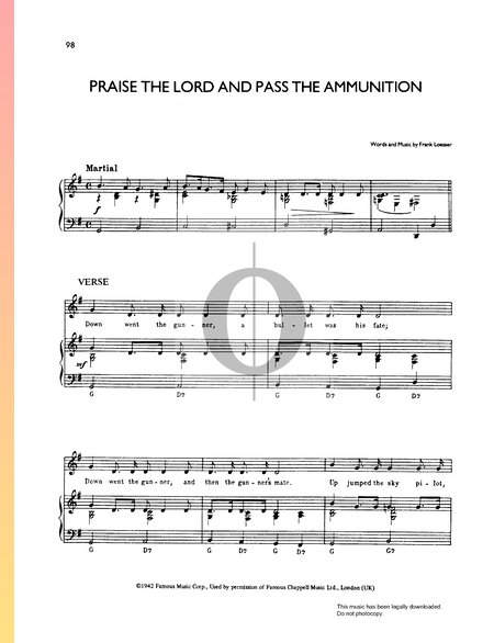 Praise The Lord And Pass The Ammunition Musik-Noten