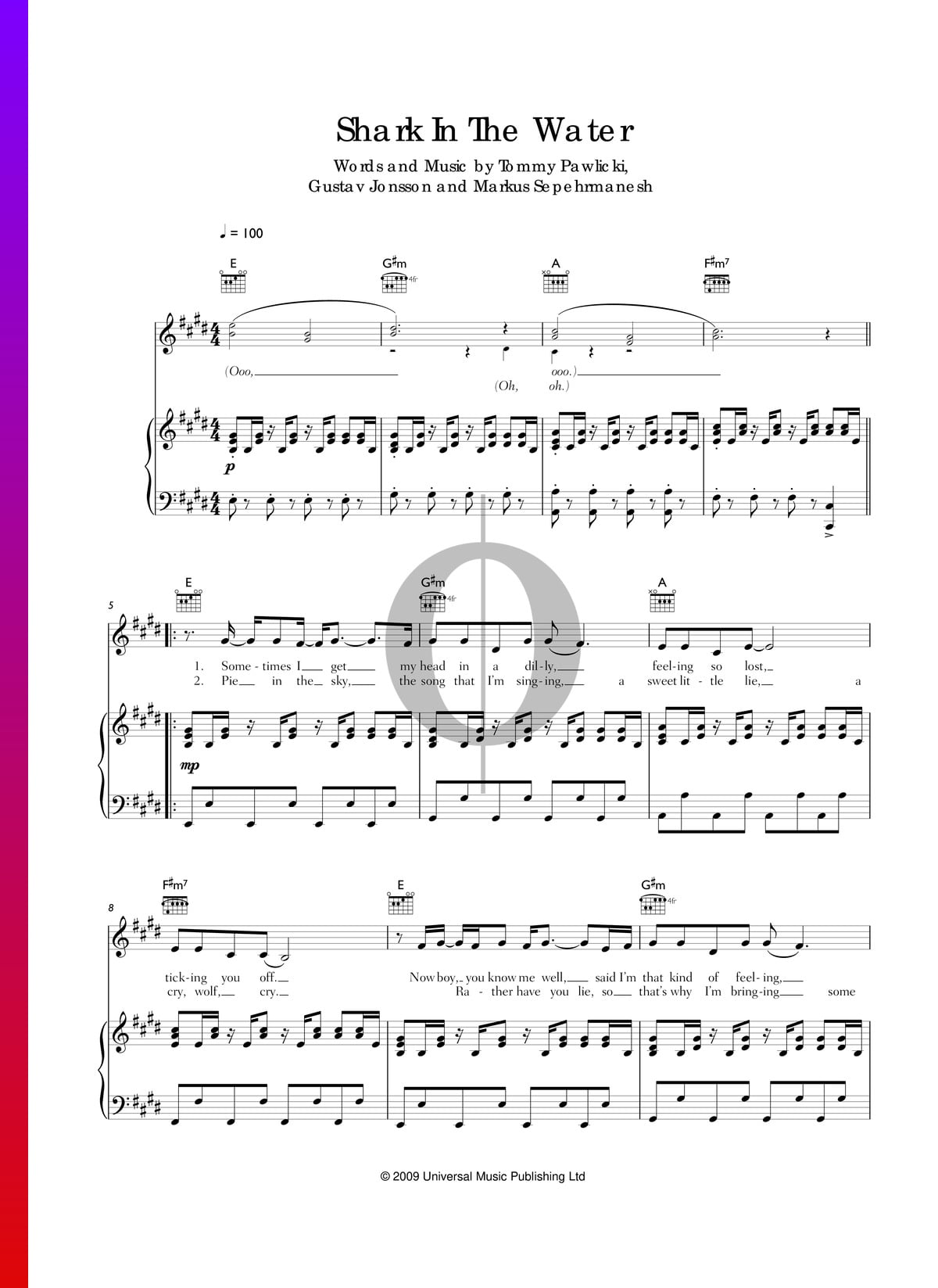 ▷ Shark In The Water Sheet Music (Piano, Voice, Guitar