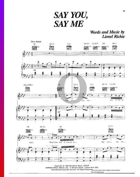 Say You, Say Me Musik-Noten