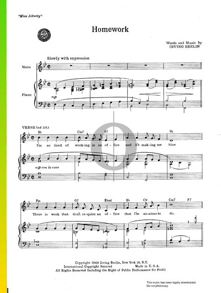 Homework Sheet Music