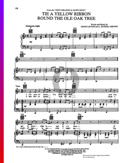 Tie A Yellow Ribbon Round The Ole Oak Tree Sheet Music